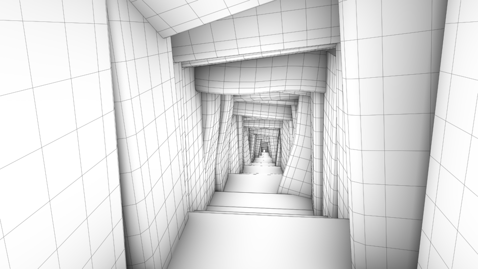 Egyptian Tomb Wireframe 3D Environment By Marc Zirin