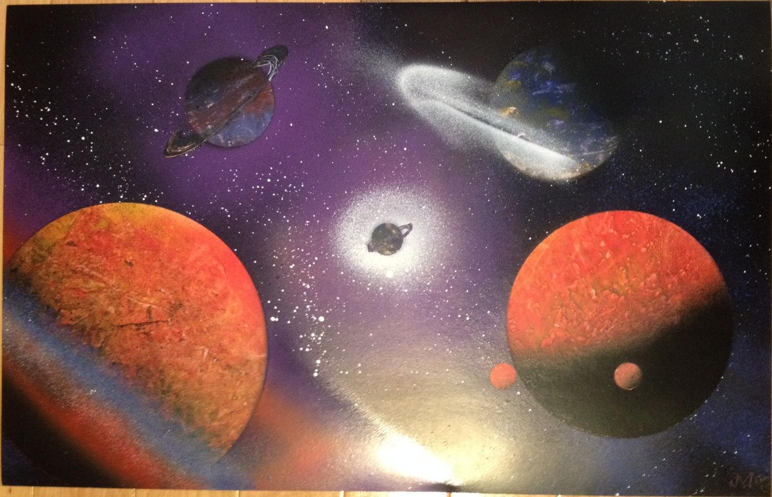 vibrant space scenes spray paint art. Black Bedroom Furniture Sets. Home Design Ideas