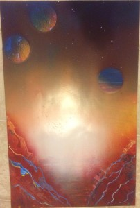 Burnt Ocean Planet - Spray Paint Art for Sale