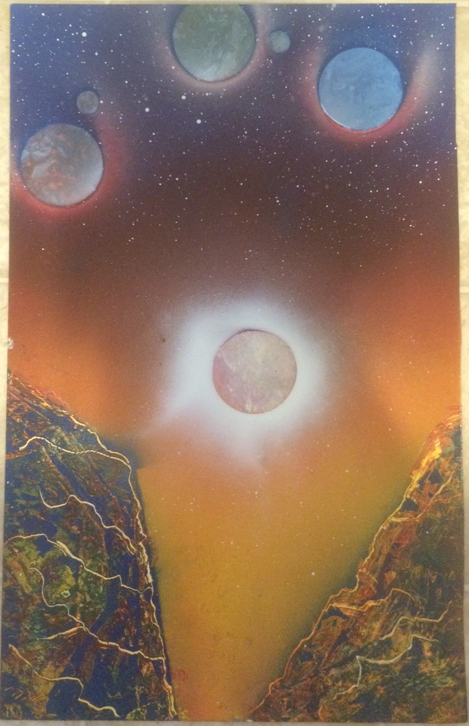 Marbled Planets Spray Paint Art For Sale Marc Zirin