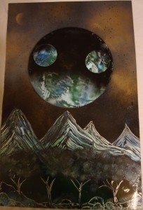 Mountain Planet - Spray Paint Art for Sale