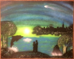 BlueGreen Romance Spray Paint Art Large