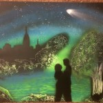 BlueGreen Romance Spray Paint Art Small